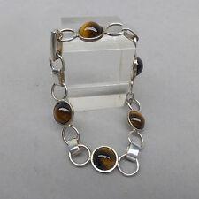 ❂ ► vintage bracelet, 70er- 80er Ans, Argent 925 Chats Yeux 19 cm long