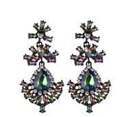 PAGEANT CRYSTAL RHINESTONE CHANDELIER DANGLE EARRINGS PROM aurora ab iridescent