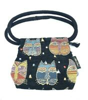 Laurel Burch Purse Black Cat Face Zipper Top Shoulder Mini Bag