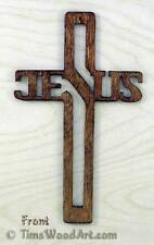 Jesus Cross, Baltic Birch Wood Cross for Wall Hanging or Ornament, Item J-4