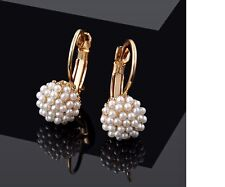 Women's Beautiful 18K Gold Plated  Simulated Pearl Earrings Christmas Gift UK