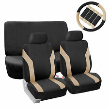 Black & Beige Seat Covers Car SUV with 2 Headrests Steering Wheel Cover Belt Pad