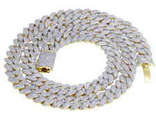 Real Diamante cubano de Miami Gargantilla Collar De Oro Amarillo 10K 10MM de 16 6/7 quilates y 21""