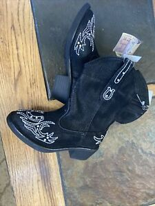 NWT Roper toddler girls western Cowboy boots black horseshoe