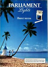 1992 VINTAGE 8X11 PRINT Ad FOR PARLIAMENT LIGHT CIGARETTE COUPLE+BEACH PALM TREE
