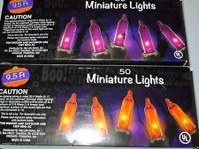 50 PURPLE & 50 ORANGE MINIATURE LIGHTS 19 FT LIGHTED LENGTH NIB
