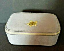 Oliver Bonas Small Travel Jewellery Box velvet Grey Embroidered turtle motif