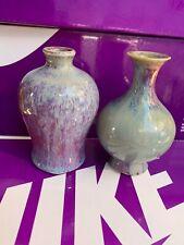 New listing  Set Of 2 Antique Chinese Export Porcelain Red-Glazed Sang De Ceramic Small Vase