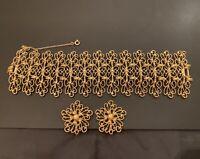 "Vintage MONET 1966 ""Escambria"" Gold Tone Wide Filigree Bracelet & Earrings Set"