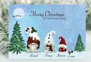 Personalised Christmas card  Gnome Family Customable Christmas card Gonk family