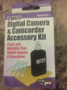 NEW Vidpro Digital Camera & Camcorder Lens Cleaning Kit (solution, cloth, swabs)