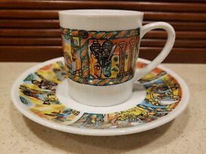NORITAKE JAPAN ANTIQUE ART DECO MULTICOLOR DEMITASSE COFFEE CUP &SAUCER SET
