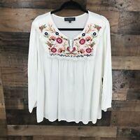 Eloquii Women's White Floral Boho Popover Blouse Size 22