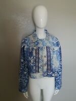 Chicos Women Jean Denim Jacket Blue Beaded Embellished Mixed Artisan (SIZE 2)