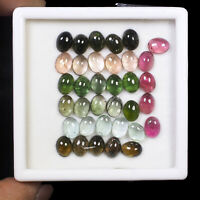 35 Pcs Natural Tourmaline 8mm/6mm Oval Cabochon Multi Color Gemstones Wholesale