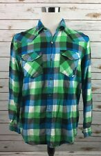 Mambo Mens Shirt Medium Long Sleeve Flannel Blue Green Plaid Western Snap Front