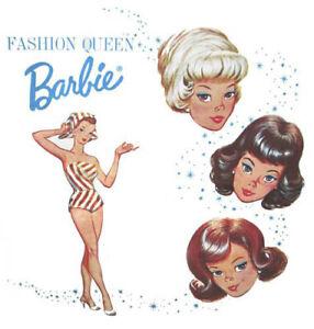 Set of TWO Retro 60's Fashion Queen Barbie 5x5 Craft Quilt Cotton Fabric Blocks