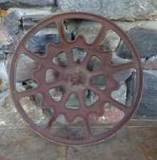 "Vtg Industrial Salvage Railroad Train Car Cast Iron Ajax Brake Wheel 22"" Dia"