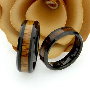 Tungsten Wedding Band Set, 8mm, 6mm, Hawaiian Koa Wood Inlay, Tungsten Ring Set