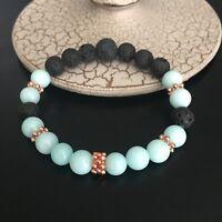 Aromatherapy Essential Oil Diffuser Bracelet Jasper Gemstones Black Lava Beads