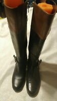 Women's Womens Bandolino Coppa Riding Boot Brown & Black Two Tone Size 8