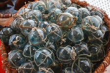 """Vintage Japanese Glass Fishing Floats, 2"""" Netted, Lot of 10"""