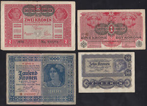 1919 - 1922 Austria Kronen Lot 4 Vintage Old Emergency Money Banknote Collection