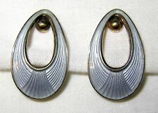 Enamel Open Oval Egg Earrings Vintage Norway 925S Sterling Silver Guilloche