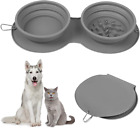 LTBLBY Double Collapsible Dog Bowls, Portable Travel Pet Slow Feeder Bowls, Fold