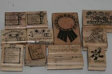 Rubber Stamp Lot 12 Vintage 1988 Mounted Teacher School Theme Supply Resource