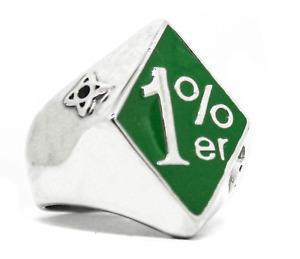 1%er One Percent, Green Outlaw Biker Ring Stainless Sz 7,8,9,10,11,12,13,14,15