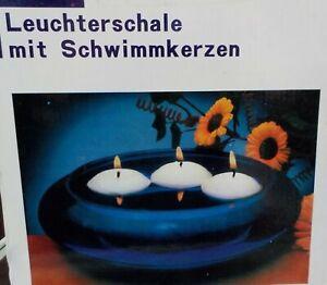 Leuchterschale mit Schwimmkerzen blaue Schale mit Schwimmkerzen Kerzen