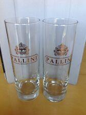 Set 2 Mint Pallini Roma Gold Logo Clear Glass Cocktail Highball Glasses Tumblers