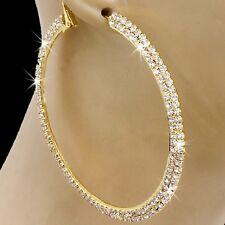 """3"""" HUGE Pave Set Crystal Hoop SPARKLE Cz Dangle Drop Ladies Gold GP Earrings"""