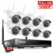 ZOSI H.265+ 1080p Home Security Camera System Wireless Outdoor CCTV 8CH NVR 3TB