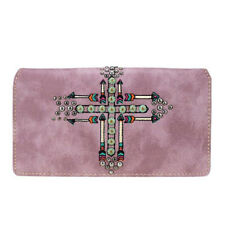 Montana West Women's Clutch Try Fold Wallet - Purple Native Arrow Cross