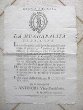 X483-PERIODO NAPOLEONICO-REGNO D'ITALIA-BOLOGNA VENDITA ALL'ASTA TENUTA SAMOGGIA