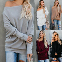 Womens Elegant Off the Shoulder Chunky Knit Jumper Oversized Baggy Sweater Tops