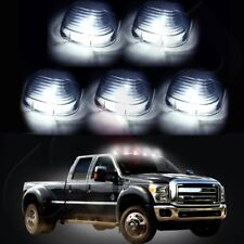 5) Smoke Roof Running Lights Cab Marker Cover+Xenon White 194 LED Bulbs for Ford