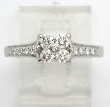 Platinum Round Diamond Flower Cluster Engagement/Right Hand Ring .55ct