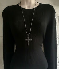 """Gorgeous 28"""" long Hematite tone chain & black diamante cross pendant necklace"""