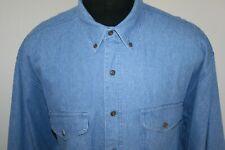 Chaps Ralph Lauren Mens Chambray Long Sleeve Button Down Shirt Size XL Blue