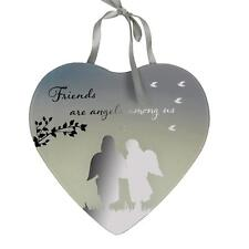 Reflections Mirror Glass Hanging Heart Plaque Gift – Friends