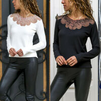 Women's Long Sleeve Lace Pullover Tops Ladies Casual Loose T Shirts Blouse Tee
