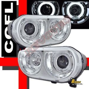 CCFL Halo Projector Headlights For Factory HID Type 08-14 Dodge Challenger SRT8