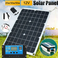 20/30/50W USB Solar Panel Battery Charge+40A Controller RV Boats Outdoor 12V
