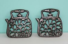 """Set of 2 Metal Teapot Kettle Shaped Trivets Pot Holder Made in China 4.75""""x4.5"""""""