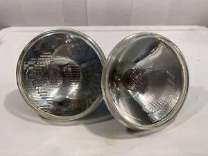 "RARE CIBIE 7"" 135 CONCAVE HEADLAMPS PAIR (2) FERRARI 250 PORSCHE MADE IN FRANCE"