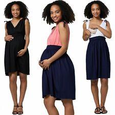 Zeta Ville Women's Maternity Nursing Layered V-Neck Dress Sleeveless 072