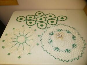 Vintage Lot 3 Crocheted Lace Doilies Handmade Green White Used